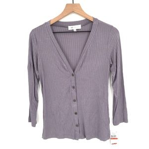 NEW Fever Button up Front Shirt top lightweight sweater ribbed Gray XS women's